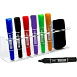 Clear Acrylic Wall Mountable 6 Slot Dry Erase Marker & Eraser Holder Organizer Rack - MyGift
