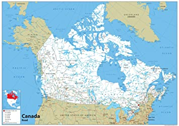 Road Map Of Canada.Canada Road Map Paper Laminated A1 Size 59 4 X 84 1 Cm Amazon