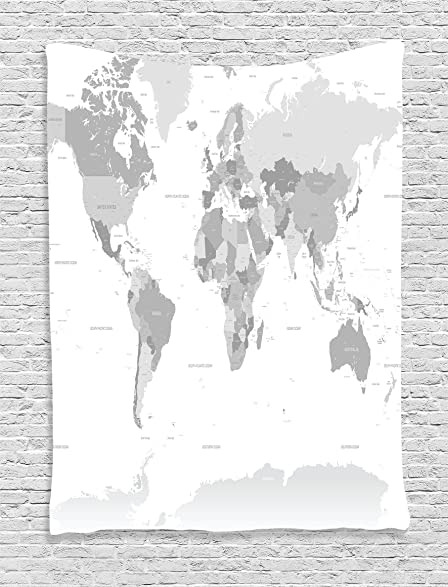 Amazon grey decor tapestry wall hanging by ambesonne detailed grey decor tapestry wall hanging by ambesonne detailed world map with all countries and major gumiabroncs Image collections