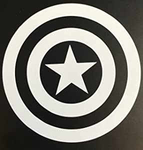 """C60003 White Captain America Decal Sticker for Car Window, Laptop, Motorcycle, Walls, Mirror and More. (5.5"""", White)"""