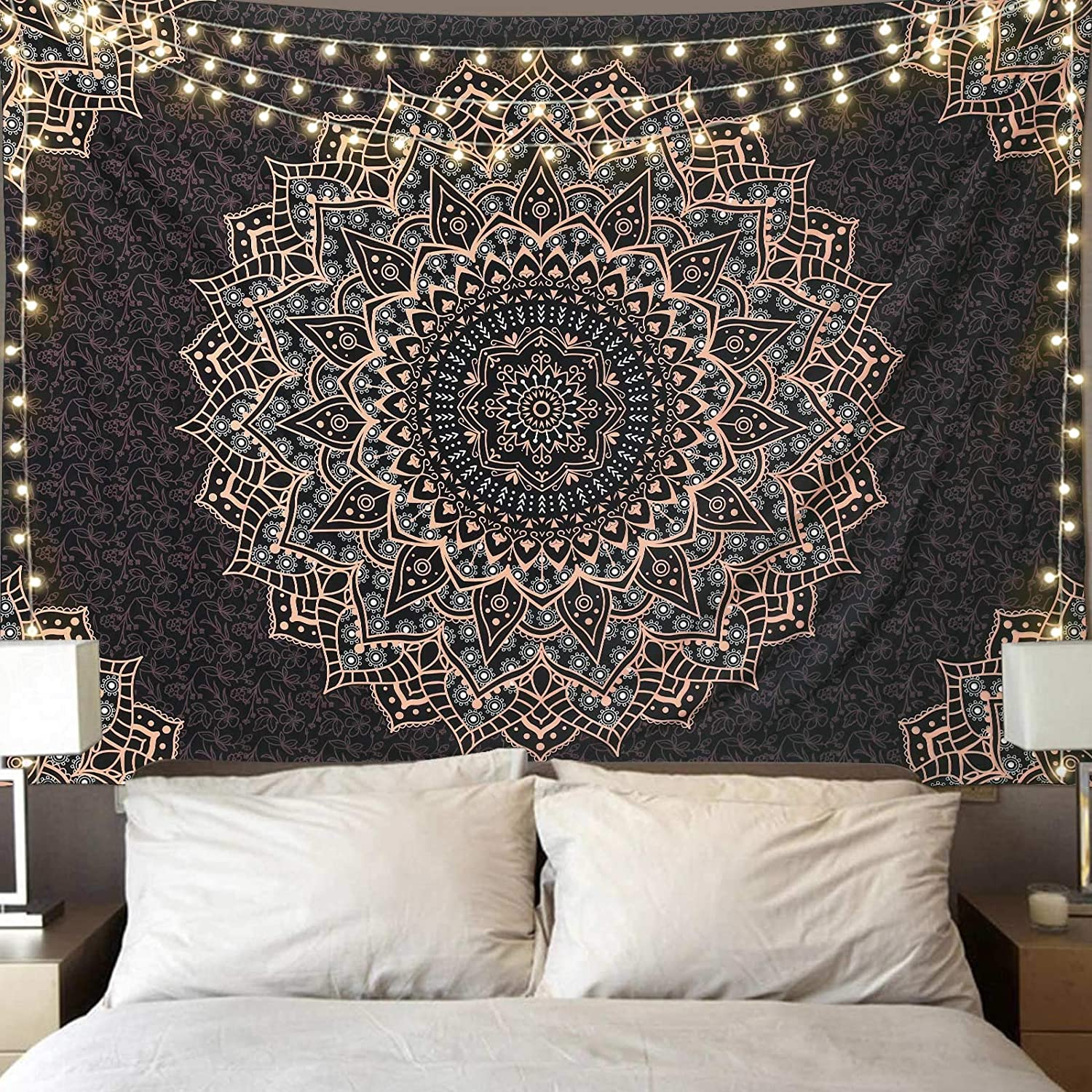 Black Golden Mandala Tapestry Wall Hanging Psychedelic Wall Tapestry Aesthetic Indian Hippie Wall Decor Bohemian Wall Art Boho Home Decor for Bedroom,Living Room,Dorm
