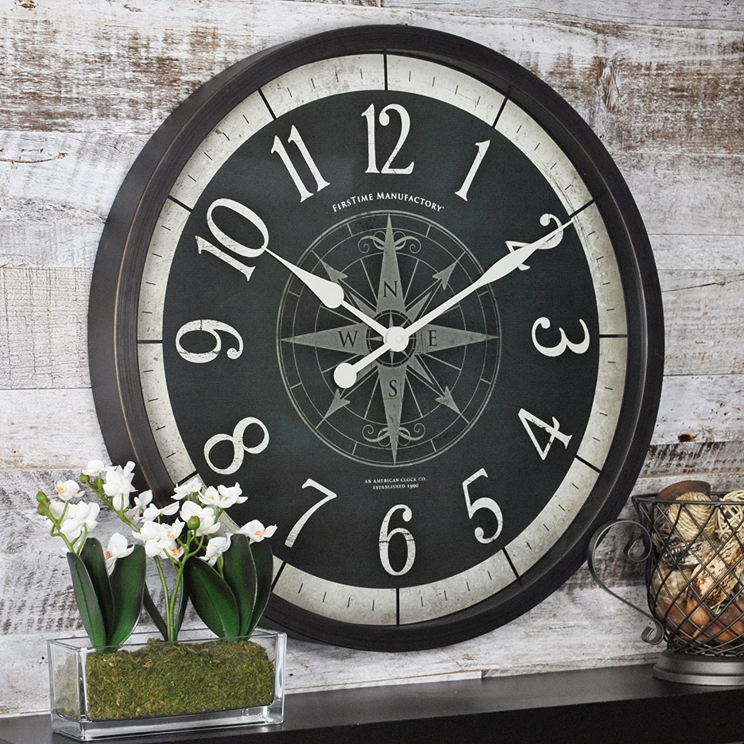 FirsTime & Co. Compass Rose Wall Clock, American Crafted, Oil Rubbed Bronze, 24 x 2 x 24, (10062)