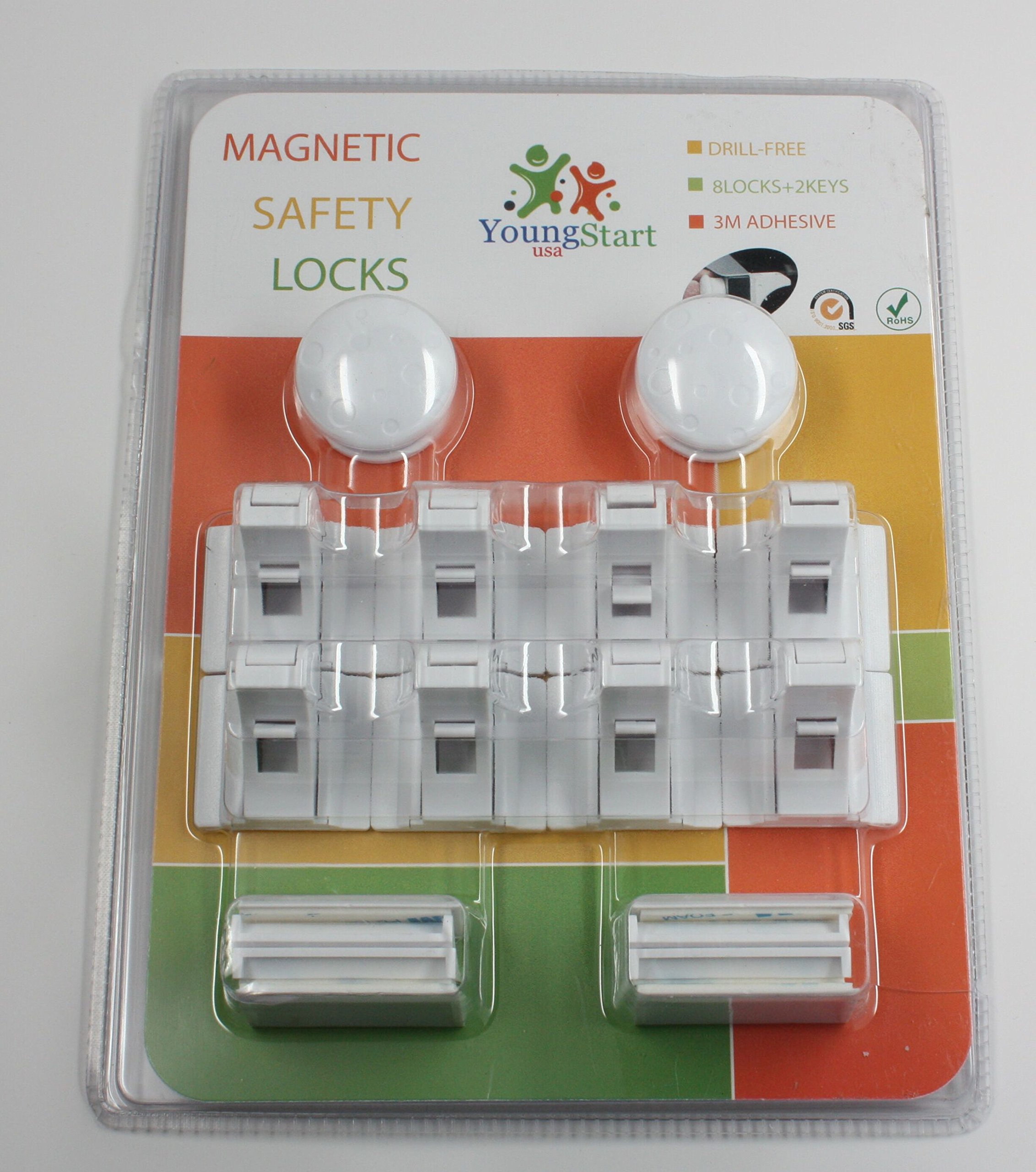 Young Start Magnetic invisible Baby and Child proof Safety Locks for Cabinets and Drawers, 8 Locks and 2 Keys, Easy to fit, No Tools,Nails or Screws required
