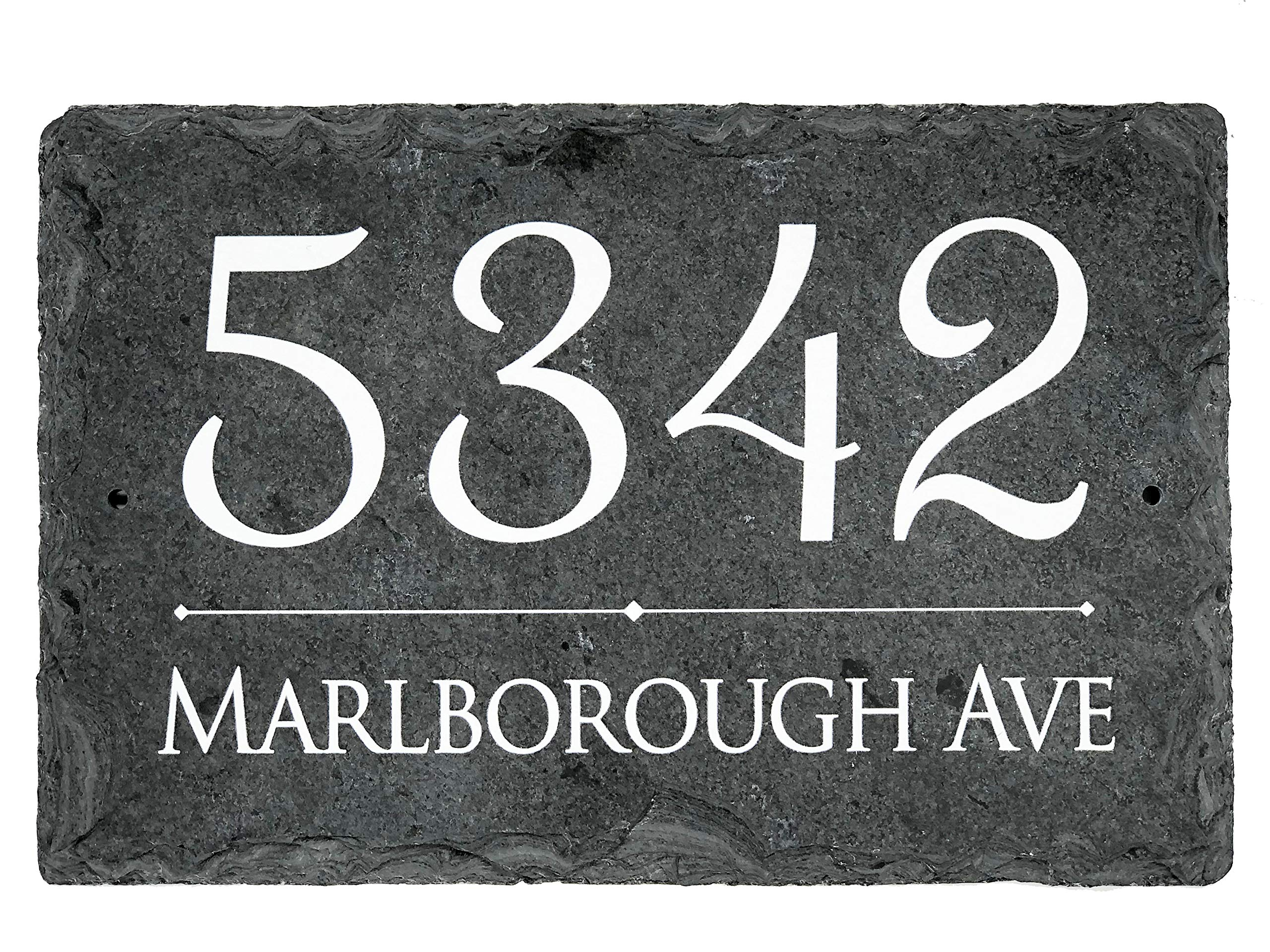 Sassy Squirrel Beautifully Handcrafted and Customizable Slate Home Address Plaque Personalized House Sign with and mounting Hardware. Improve The Curb Appeal of Your Property (16''x10'')