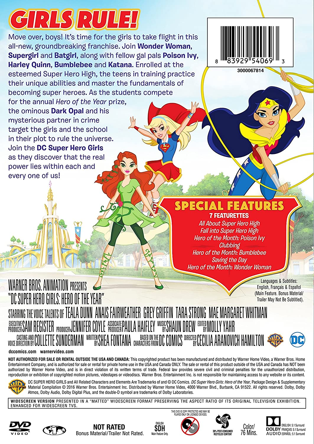 Dc Super Hero Girls: Hero Of The Year Edizione: Stati Uniti Italia DVD: Amazon.es: Cine y Series TV