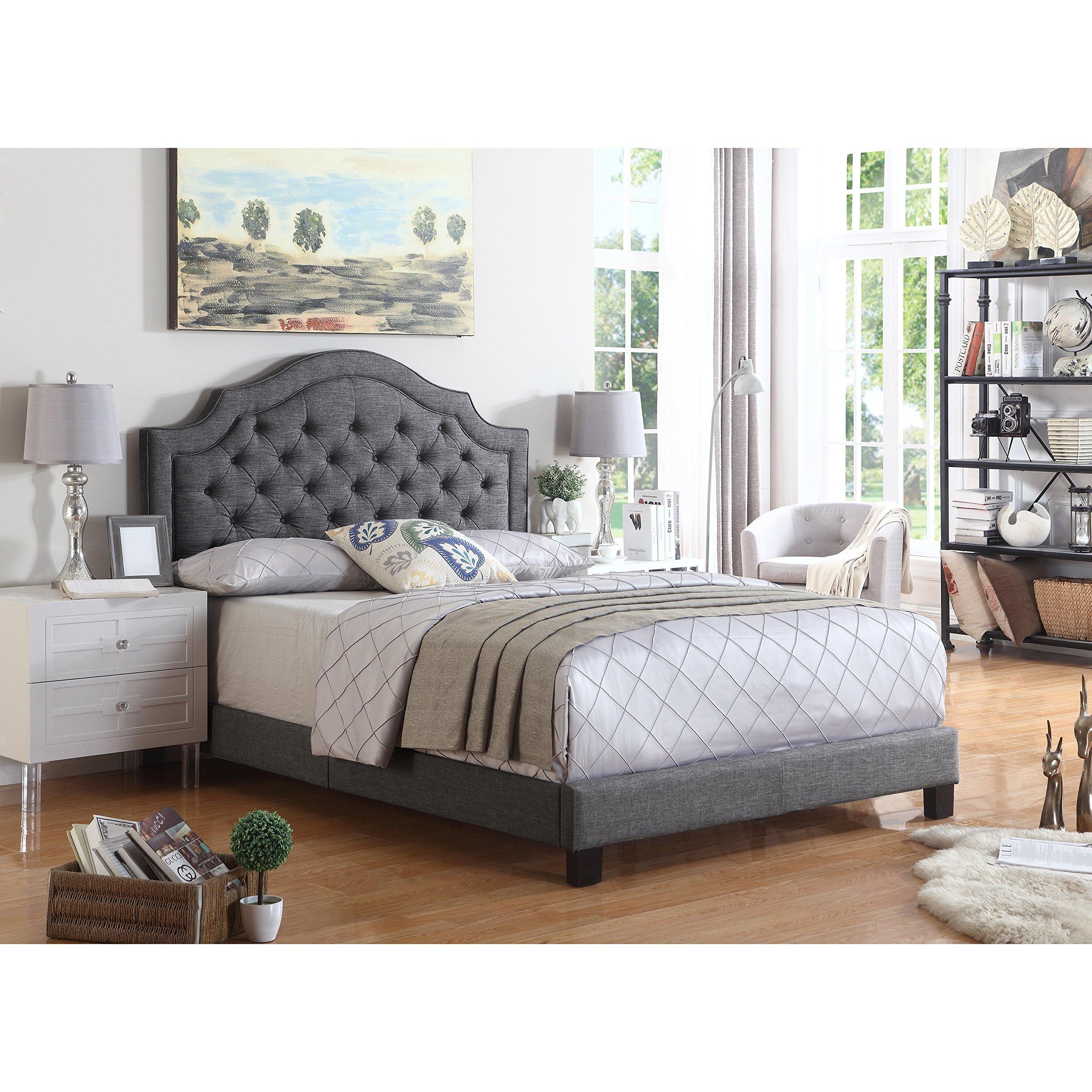 Rosevera B4-3Q-00 Angelo Platform Bed, Queen, Grey by Rosevera