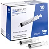 10ml Syringe Sterile with Luer Slip Tip, BH SUPPLIES - (No Needle) Individually Sealed - 100 Syringes