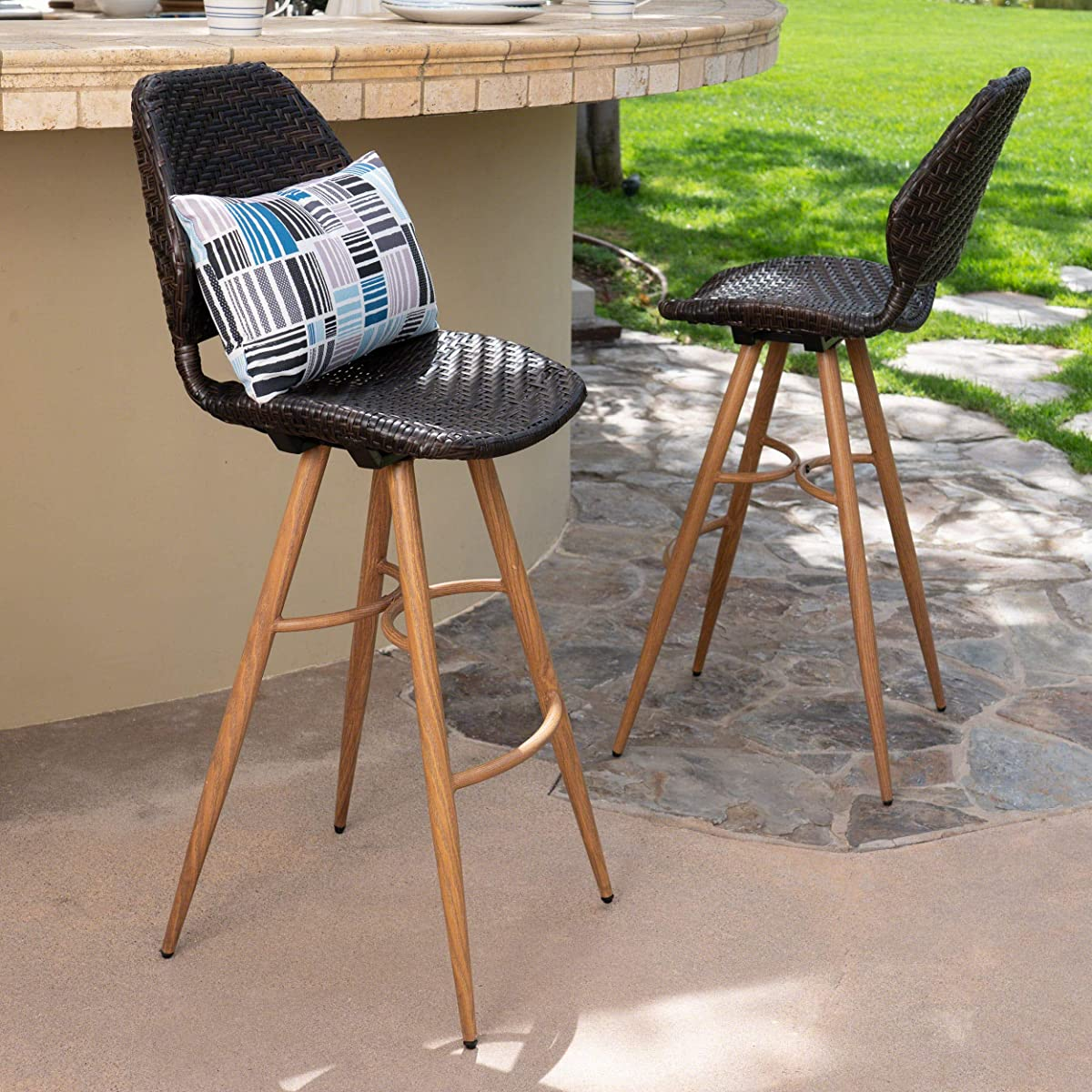Amaya Outdoor Multibrown Wicker Barstools with Brown Wood Finish Metal Legs (Set of 2)