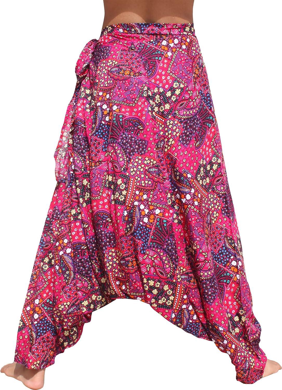 Raan Pah Muang Baggy Side Tie Mao Hill Tribe Pants Geometric Floral Artwork Plus variant41580AMZ