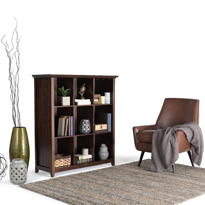Amazon.com: Simpli Home Acadian Solid Wood 9 Cube Storage Bookcase ...