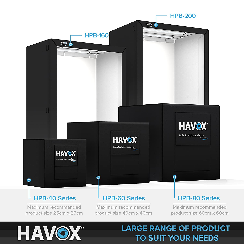 Dimension 32x32x32 CRI 93 26,000 lumens HAVOX Super Bright Dimmable LED Lighting 5500k Photo Studio HPB-80XD Make Your Commercial Photos e-Commerce