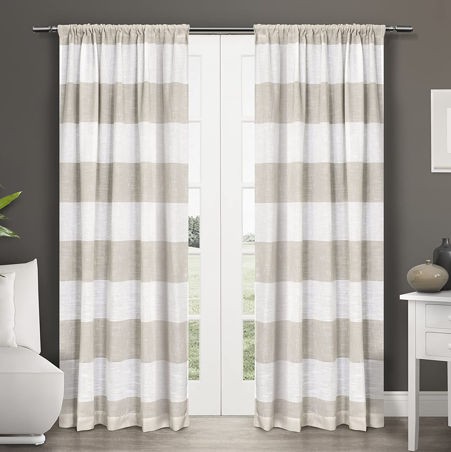 home curtains ifohl dp linen amazon kitchen darma sheer rod exclusive panel com pair curtain window pocket panels