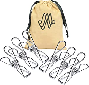 "Chip Clips Silver Utility 30 Pack - 2"" Wire Clothes Pins and Bag Clips for Food & Outdoor Clothesline Heavy Duty Clamp - Stainless Steel Laundry Clip - Multipurpose Metal Pegs Home Kitchen Office"