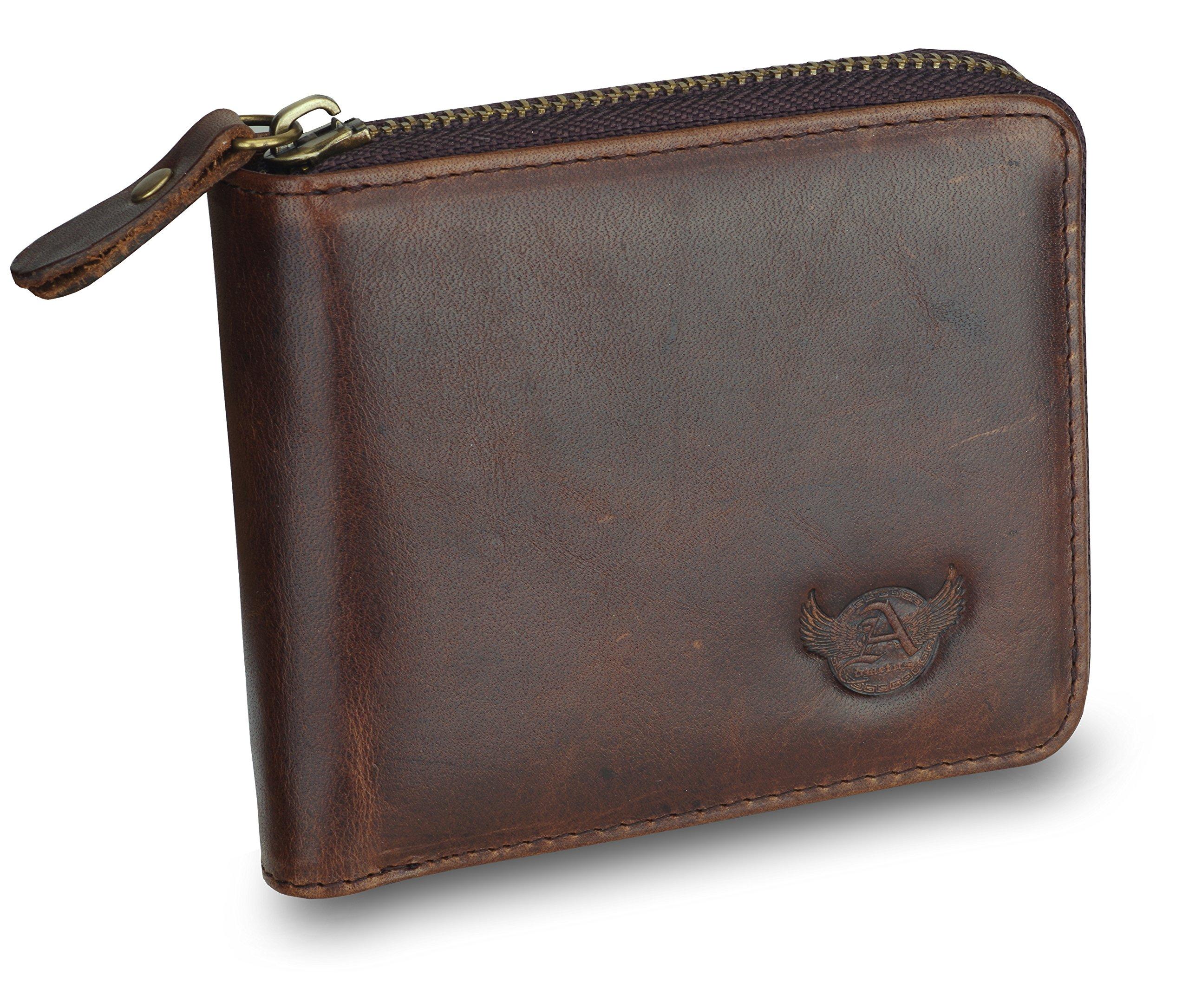 Men's Genuine Leather Short Zip-around Bifold Wallet Exquisite box Christmas Gift Admetus