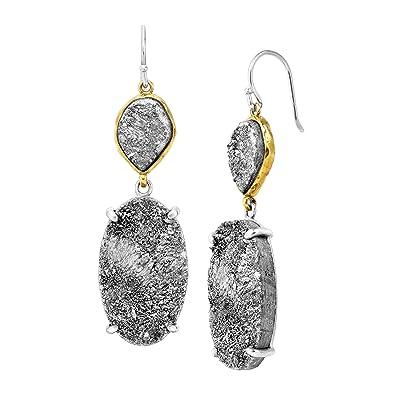 Amazon.com  Silpada  Glisten Up  Grey Druzy Drop Earrings in ... 1777f4753
