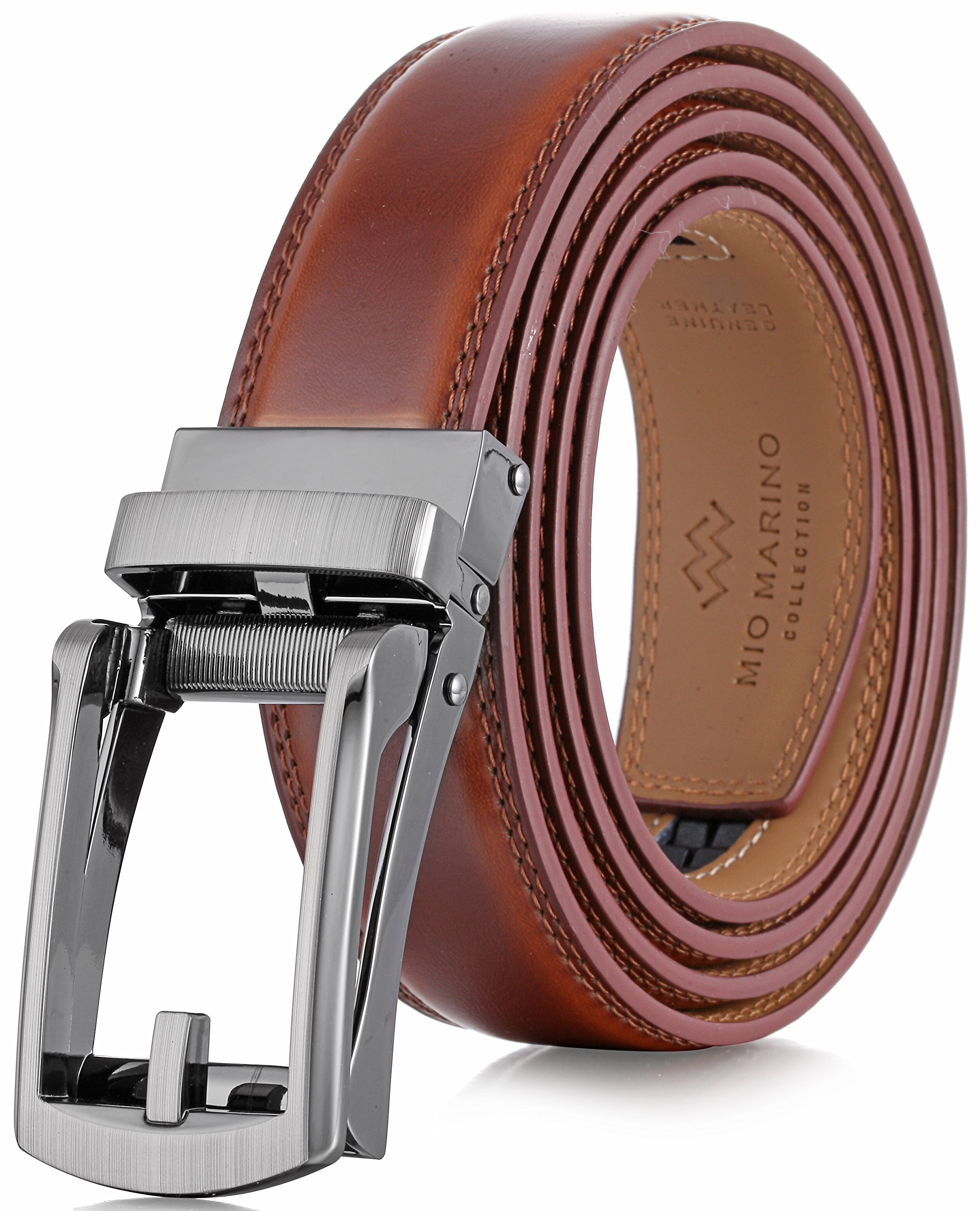 Marino Men's Genuine Leather Ratchet Dress Belt with Open Linxx Buckle, Enclosed in an Elegant Gift Box - Burnt Umber - Style 37 - Custom: Up to 44'' Waist