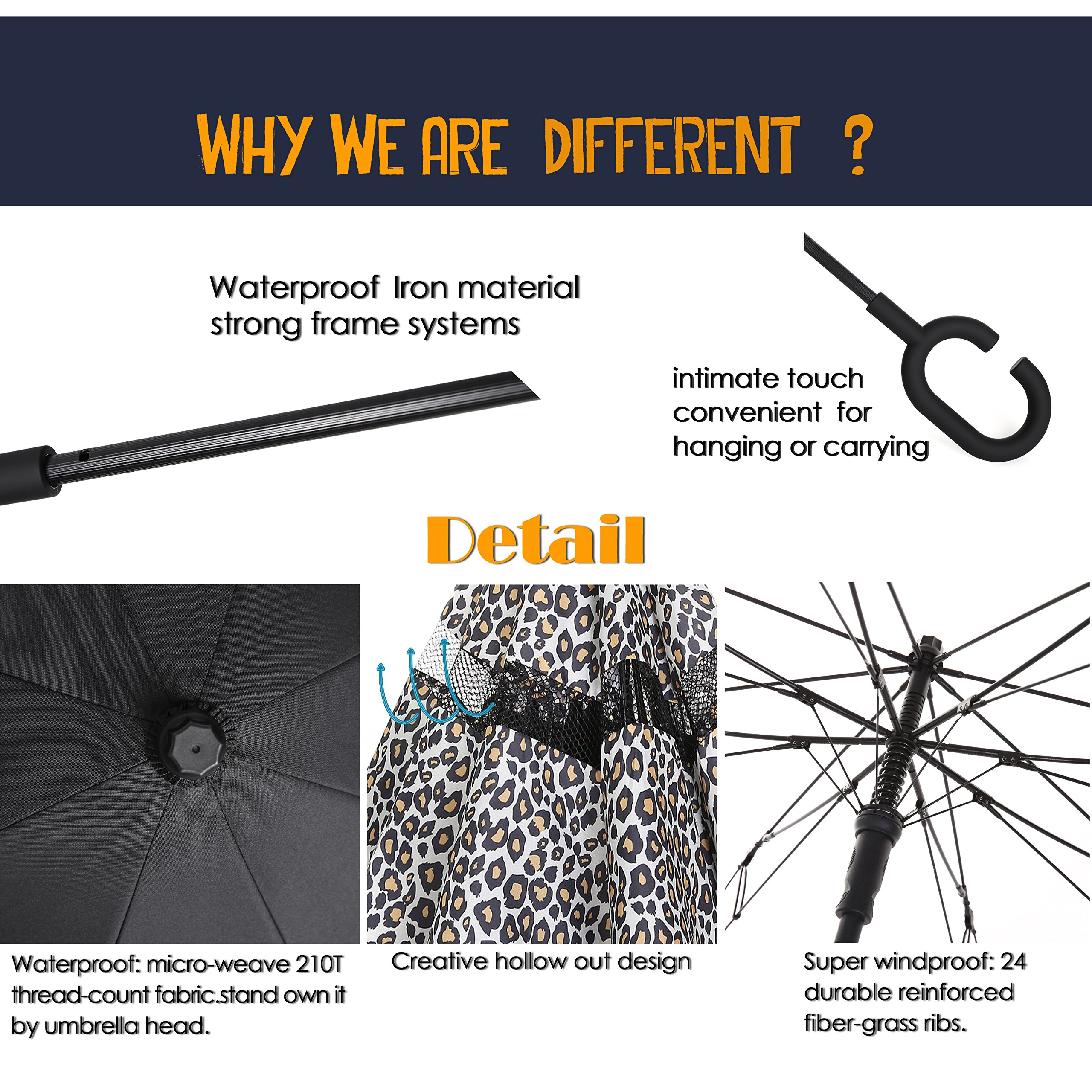 Barasol Reverse Folding Umbrella Travel Windproof Compact Umbrella Waterproof Double Canopy Vented Layer Inverted Close Golf Umbrella Lightweight for Man Women, Manually Open Leopard by Barasol (Image #7)