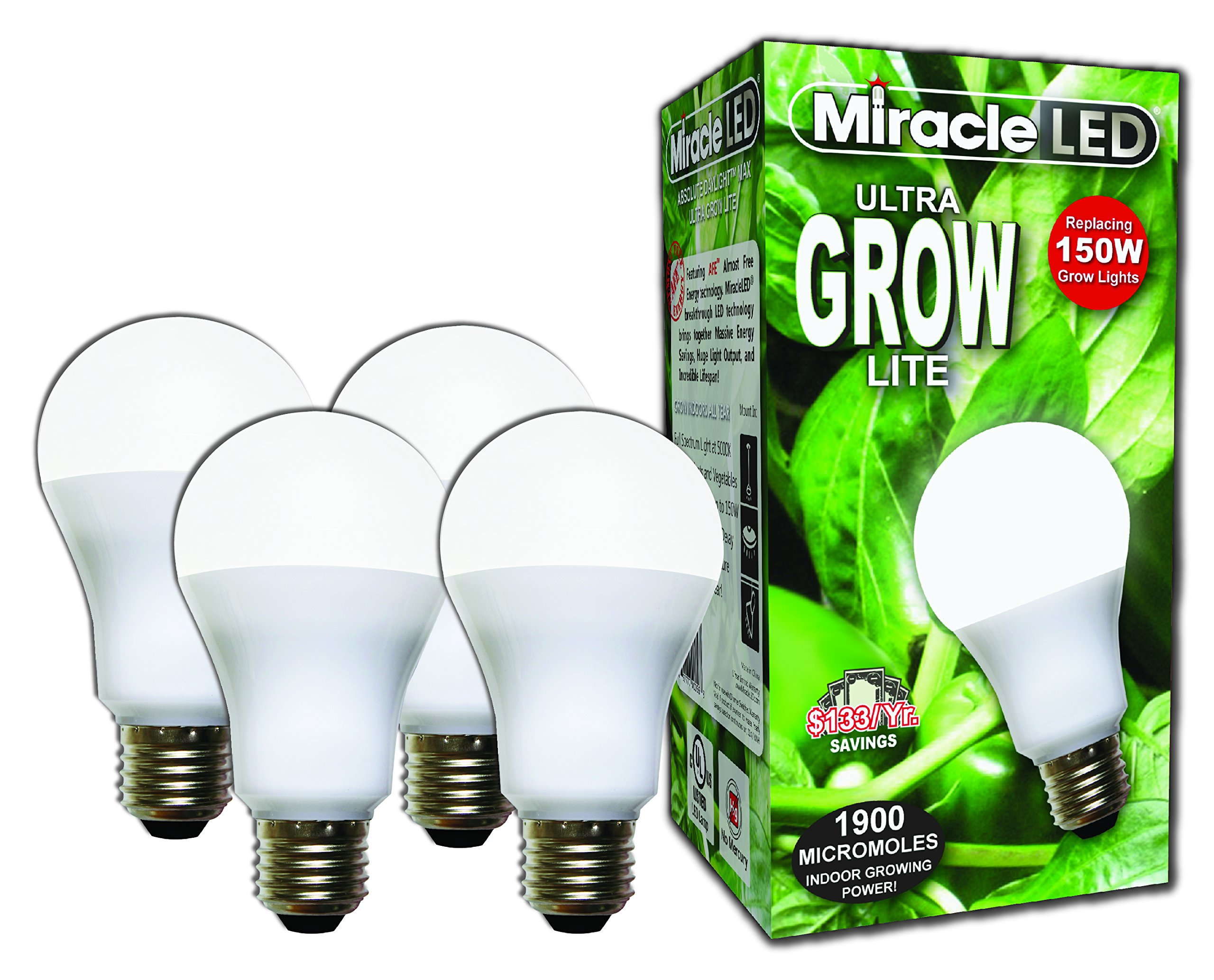 Miracle LED Commercial Hydroponic Ultra Grow Lite - Replaces up to 150W - Daylight White Full Spectrum LED Indoor Plant Growing Light Bulb For DIY Horticulture & Indoor Gardening (604281) 4 Pack by MiracleLED (Image #1)