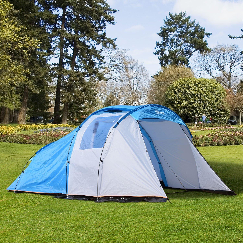 Outsunny Campingzelt Kuppelzelt Zelt mit Vorraum 2-4 Personen wasserdicht Blau
