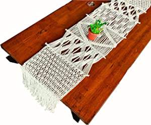Macrame table runner 62x13.5 inches Long Boho table runner table decor Handmade woven tassels kitchen linen Farmhouse home decorations runners Dining table Kitchen Wedding thanksgiving Christmas Party