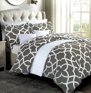 max studio jay grey modern lattice geo pattern full queen duvet cover and shams 3pc set - Modern Duvet Covers