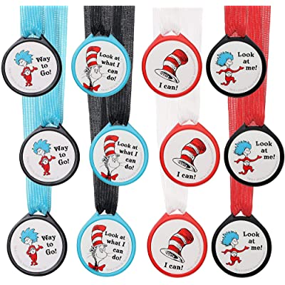 amscan Look What I Can Do! Cat in The Hat Party, Award Medals, 12 Ct., 849162: Toys & Games