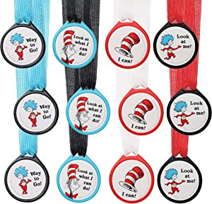 amscan 849162 Dr. Seuss Cat in The Hat Award Medals, 12ct