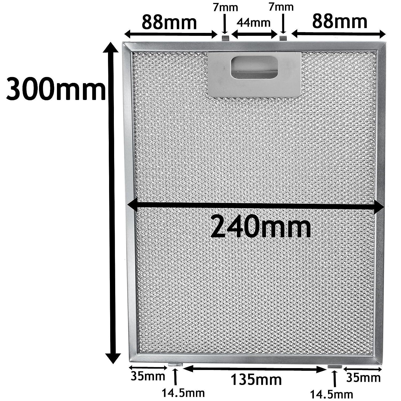 plata, 300/x 240/mm Spares2go de metal Filtro de malla para campana Teka//ventilador de extracci/ón de aire rejilla de ventilaci/ón