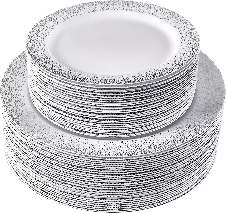 Amazon Com Heavy Duty Plastic Plates Elegant Plastic Dinnerware 40 Servings 80 Pc Set Ocean Mist Silver Kitchen Dining