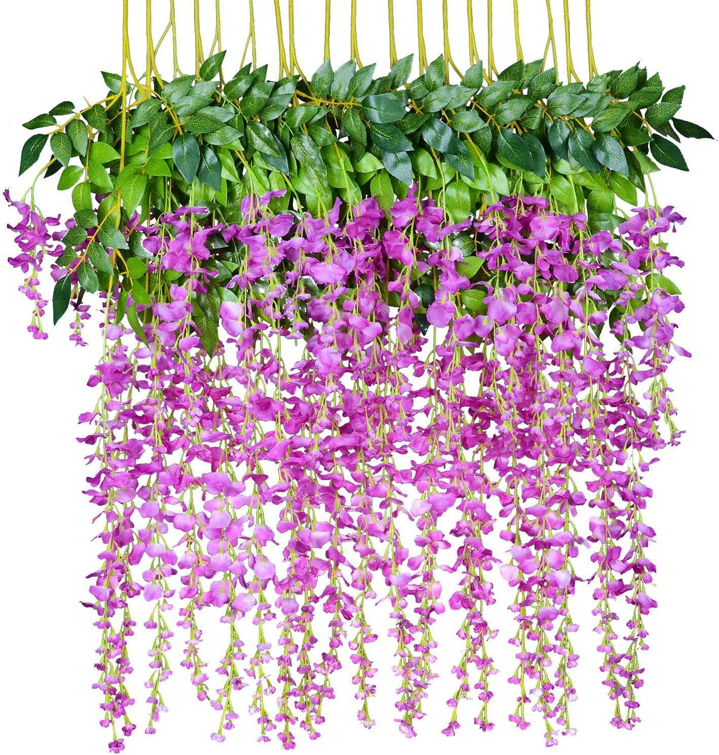 12 Pack 1 Piece 3.6 Feet Artificial Flowers Silk Wisteria Vine Ratta Hanging Flower for Wedding Garden Floral DIY Living Room Office Decor (Purple)
