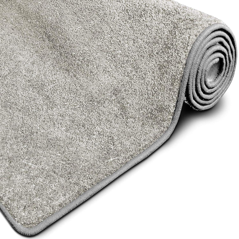 Casa pura Glitzer-Teppich Memphis   Viele Größen   mit eingewebten Glitzerfäden   Flurteppich, Wohnzimmerteppich, Küchenteppich, Schlafzimmerteppich (Silber - 160x160 cm)