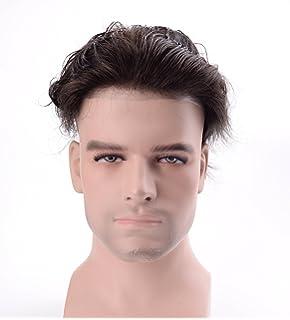Lordhair Reale Menschenhaar Super Dünne Haut Männer Toupee Weg Vom Schwarzen 1B # Haarfarbe Toupet Herren Perücke für Männer