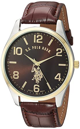 1bdbb49bcde U.S. Polo Assn. Classic Men s USC50225 Watch with Brown Faux-Leather Strap