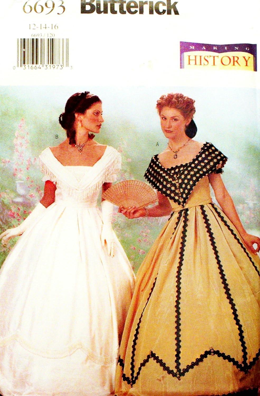 Amazon OOP Butterick Making History Pattern 6693 Misses Szs 121416 Civil War Era Dresses Home Kitchen