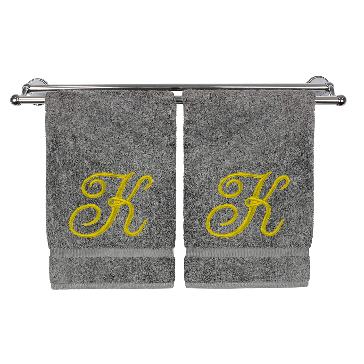 Monogrammed Hand Towel, Personalized Gift, 16 x 30 Inches - Set of 2 - Gold Embroidered Towel - Extra Absorbent 100% Turkish Cotton- Soft Terry Finish - for Bathroom, Kitchen and Spa- Script A White Bare Cotton 85-801-864-101