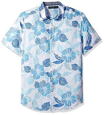 b32d008abc772a Nautica Men's Classic Fit Floral Print Linen-Blend Button Down Shirt at  Amazon Men's Clothing store: