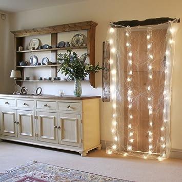 Interieur Rideau Lumineux En Organza Avec 64 Led Blanc Chaud