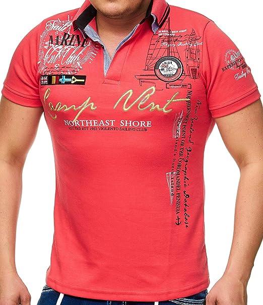 Hombre de Polo Camiseta con cuello de V y botones   manga corta ...