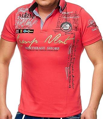 Hombre de Polo Camiseta con cuello de V y botones | manga corta ...
