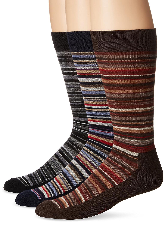 HUE Men's Multistripe Sock with Half Cushion, 3 Pair Pack, Black Grey/espresso/navy, Size:10-13/Shoe Size: 6-12