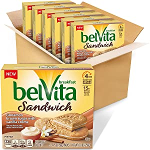 Belvita Breakfast Biscuit Sandwiches With Cinnamon Brown Sugar and Vanilla Creme Flavor, vanilla, cinnamon, 30 Count