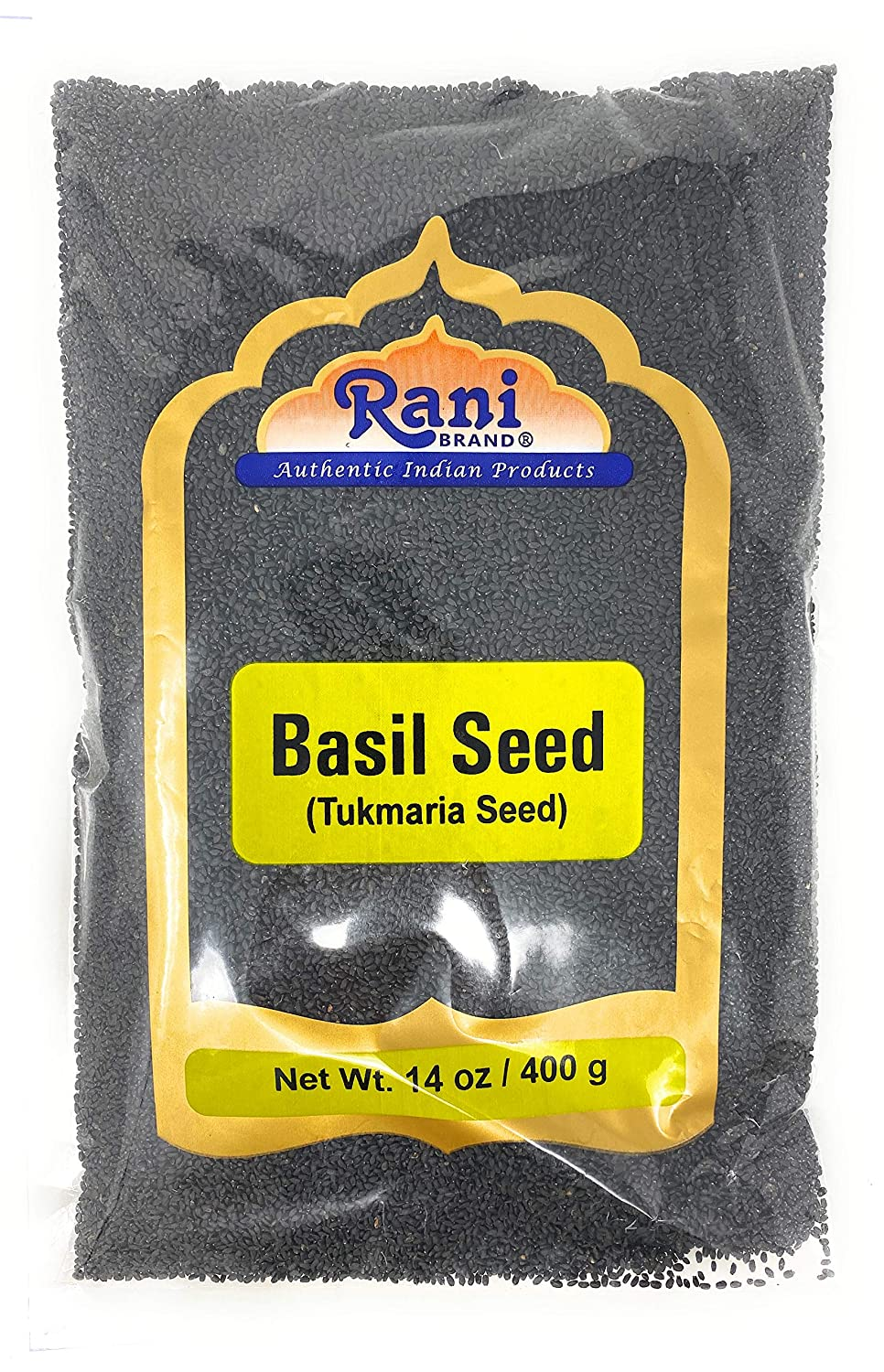Rani Tukmaria (Natural Holy Basil Seeds) 14oz (400g) Used for Falooda / Sabja Dessert, Spice & Ayurveda Herbal ~ Gluten Free Ingredients | NON-GMO | Vegan | Indian Origin
