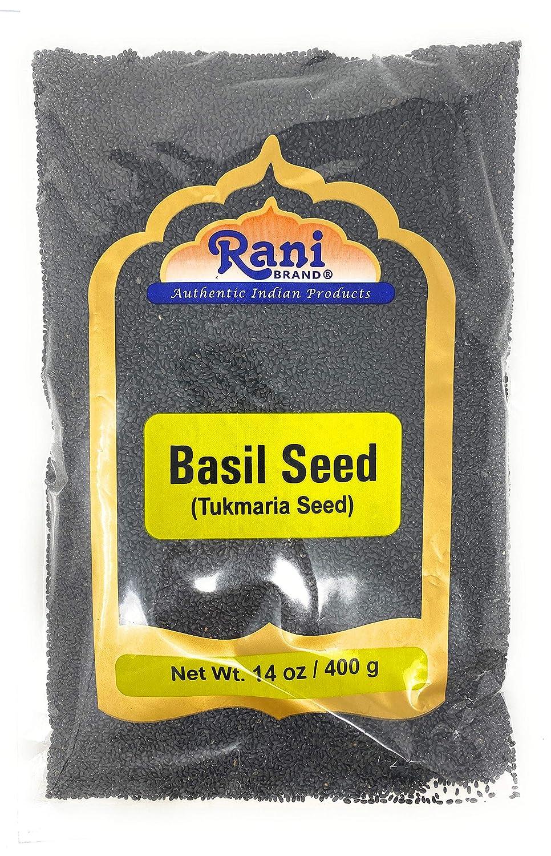 Rani Tukmaria (Natural Holy Basil Seeds) 14oz (400g) Used for Falooda / Sabja Dessert, Spice & Ayurveda Herbal ~ Gluten Free Ingredients | NON-GMO | Vegan | Indian Origin