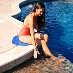Pool Mate Oval Foam Cushion for Poolside Lounging, Blue