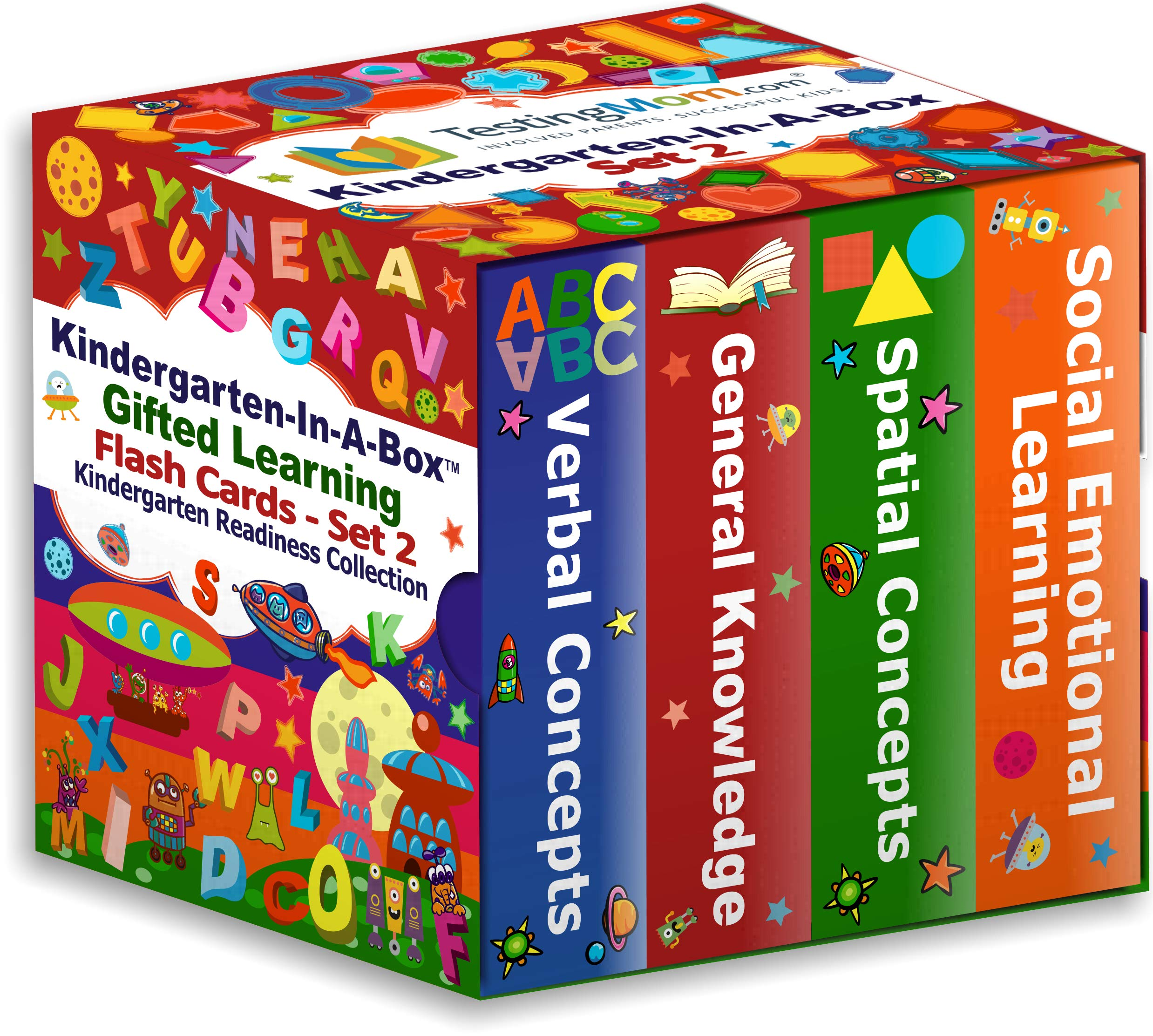 TestingMom.com Gifted Learning Flash Cards Bundle - Kindergarten-in-A-Box Set 2 - Verbal Concepts, General Knowledge, Spatial Concepts, Social Emotional Learning (Set 2) by TestingMom.com (Image #1)