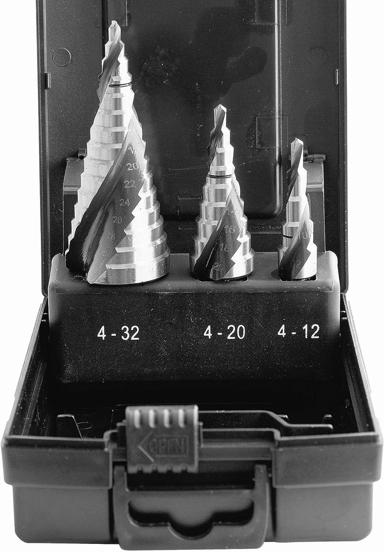 Proteco-Werkzeug® HSS Titan TIN TiALN - Juego de 3 brocas escalonadas