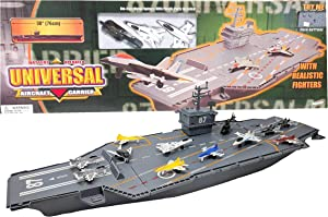 Hunson 30 Inch Aircraft Carrier with Sound Effects and 12 Fighter Jets
