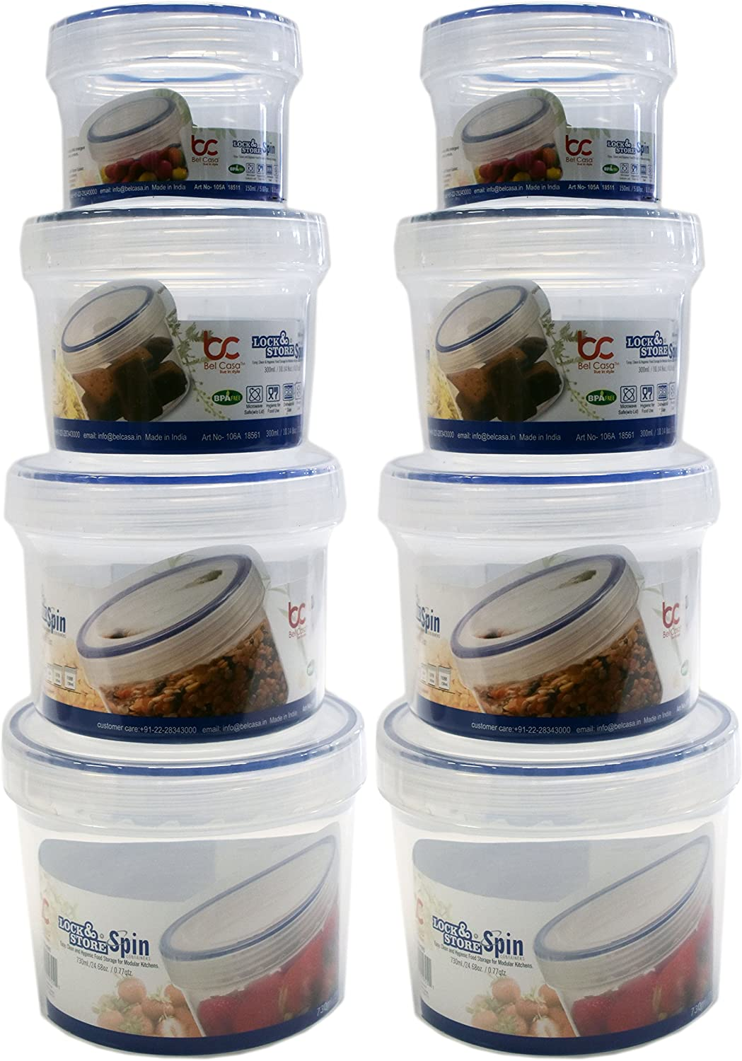 Set of 8 Lock & Store Spin Food Storage Containers! 4 Assorted Sizes - Spin Close Top - Microwave - Dishwasher - Freezer Safe - BPA FREE - Easy, Clean and Hygienic Food Storage for Modular Homes! (8)