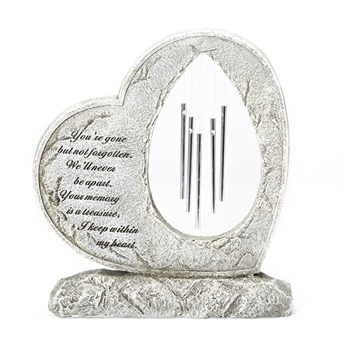 Roman Your Memory Treasure Within Heart 12 Inch Resin Stone Garden Chime Figurine