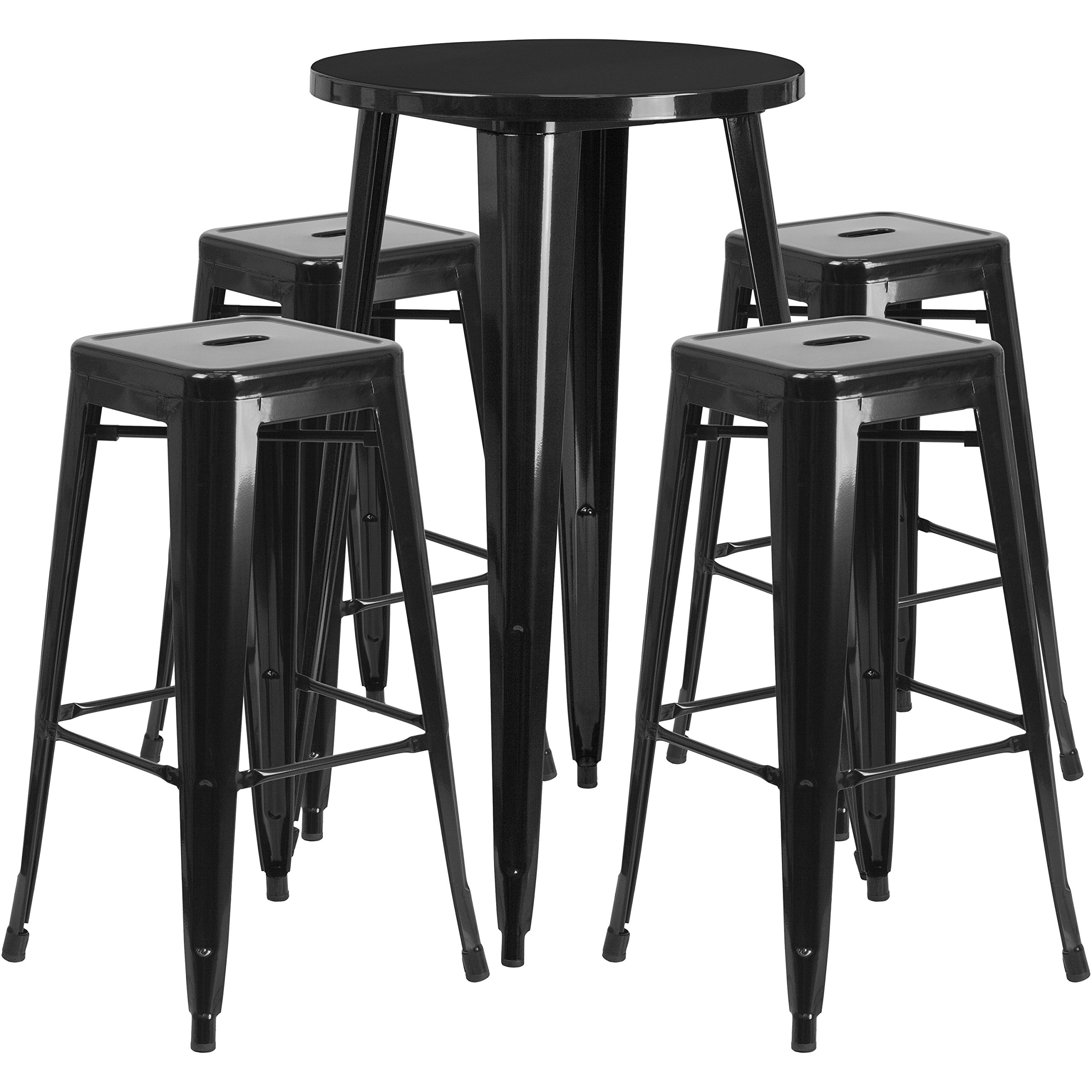 Flash Furniture 24'' Round Black Metal Indoor-Outdoor Bar Table Set with 4 Square Seat Backless Stools